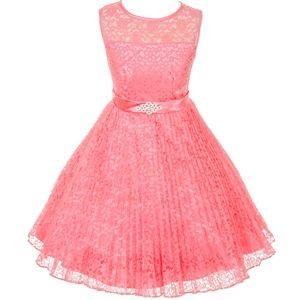 See through shoulder line lace girl dress 3527